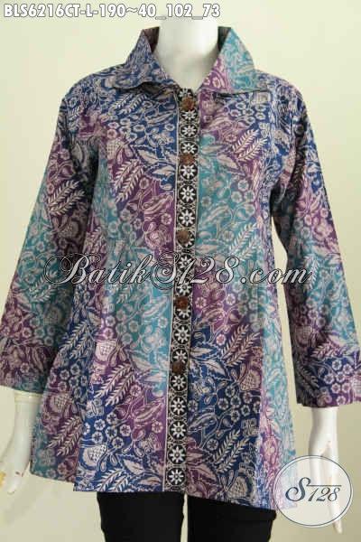 Baju Batik Wanita Muda Dan Dewasa Yang Ining Tampil Modis Dan Berkelas, Blus Batik Kerah Kotak Trend Masa Kini  Motif Bagus Cap Tulis Harga 190 Ribu [BLS6216CT-L]