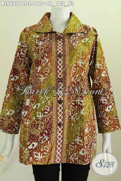 Jual Online Pakaian Batik Blus Istimewa, Busana Batik Solo Halus Khas Jawa Tengah Proses Cap Tulis Size L Cocok Untuk Ke Kantor [BLS6217CT-L]