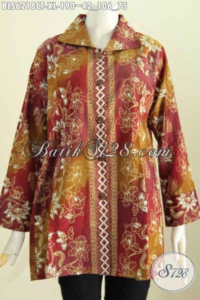 Blus Batik Cap Tulis Size XL, Pakaian Batik Wanita Dewasa Bahan Halus Model Kerah Kotak Tampil Terlihat Menawan [BLS6218CT-XL]