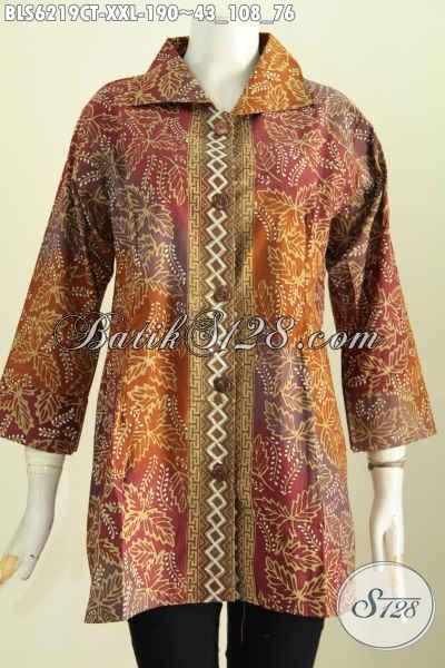 Blus Batik Jumbo 3l Baju Batik Solo Kerah Kotak Untuk