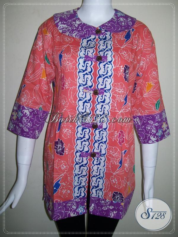 Baju Batik Lengan Tiga Perempat Untuk Wanita Aktif [BLS621C-L]