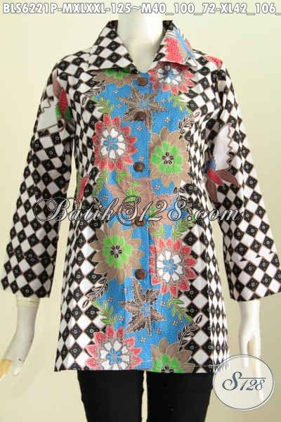 Pakaian Batik Jawa Halus Kwalitas Istimewa, Busana Batik Solo Halus Model Kerah Kotak Proses Printing Hanya 120 Ribuan [BLS6221P-XL]