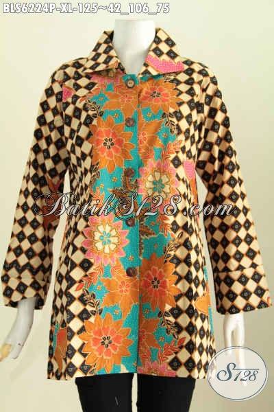 Blus Batik Ukuran XL, Pakaian Batik Modern Bahan Halus Proses Printing Model Kerah Kotak Pas Baut Kerja Dan Jalan-Jalan [BLS6224P-XL]