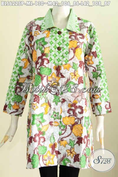Batik Blus Keren Motif Modern Untuk Wanita Muda, Baju Batik Solo Istimewa Proses Printing Di Jual Online 125 Ribu [BLS6225P-L]