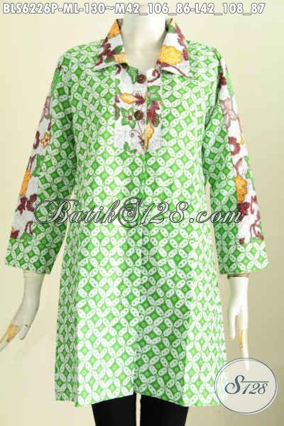 Produk Baju Blus Batik Wanita Terbaru, Busana Batik Jawa Etnik Model Kerah Kotak Proses Printing, Trendy Untuk Santai Dan Kerja [BLS6226P-L]