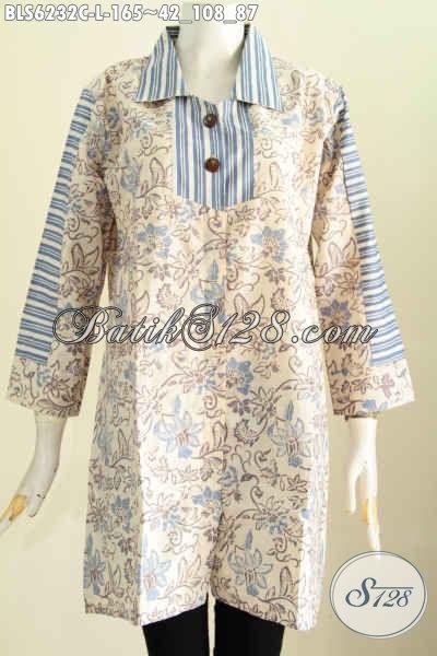 Jual Baju Blus Batik Keren Halus Proses Cap Bahan Adem Motif Paling Baru Harga 165 Ribu [BLS6232C-L]