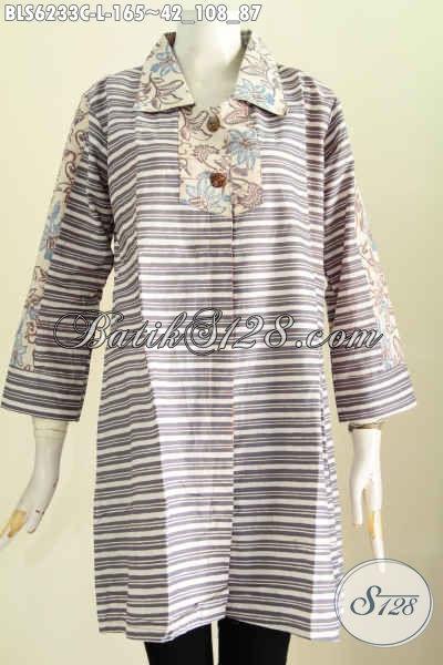 Baju Batik Kerja Keren, Blus Kerah Kotak Motif Unik Proses Cap Tampil Makin Trendy Dan Gaya [BLS6233C-L]