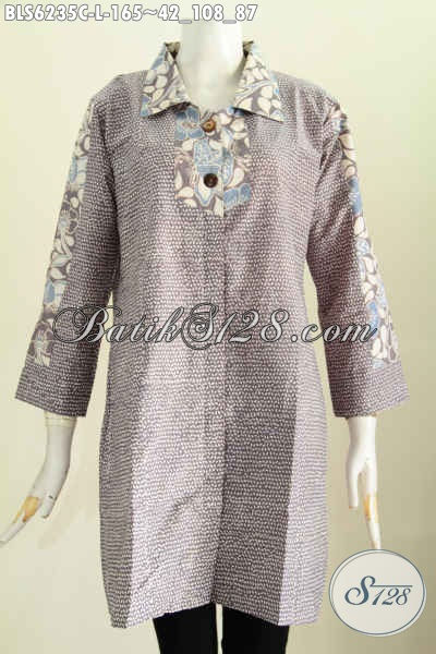 Baju Batik Istimewa, Busana Batik Modern Nan Mewah, Produk Pakaian Batik Masa Kini Untuk Tampil Gaya Tiap Hari Model Kerah Kotak [BLS6235C-L]