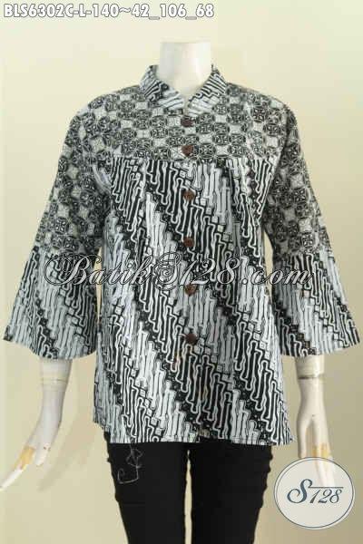 Pakaian Batik Modis Dan Istimewa, Busana Batik Berkelas Dari Solo Bahan Halus Desain Kerah Shnaghai Warna Monokrom 140K [BLS6302C-L]