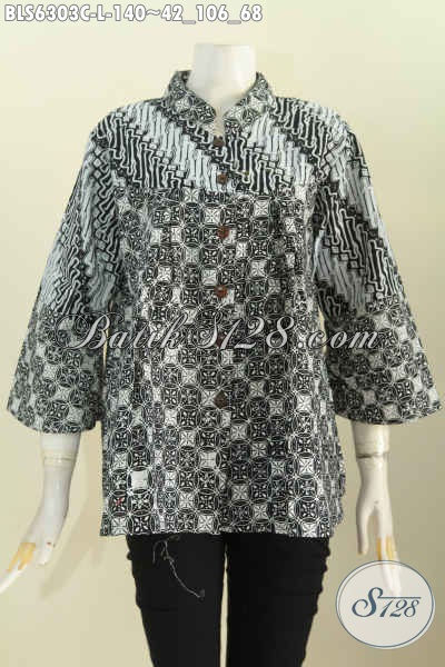 Jual Baju Batik Motif Unik, Blus Batik Monokrom Kerah Shanghai Yang Modis Buat Santai Dan Resmi [BLS6303C-L]
