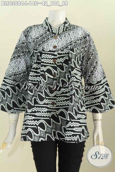 Sedia Produk Pakaian Batik Berkelas Untuk Penampilan Lebih Sempurna, Blus Batik Kerah Shanghai Monokrom Buatan Solo Asli Cocok Buat Seragam Kerja [BLS6308C-L]