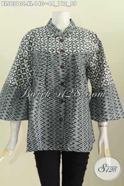Baju Batik Wanita Dewasa, Blus Batik Dual Motif, Pakaian BatikKerah Shanghai MonokromTampil Modis Dan Bergaya [BLS6310C-XL]
