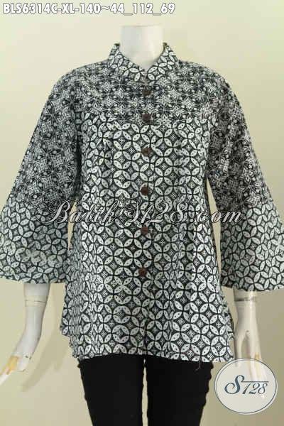 Batik Blus Kerah Shanghai Motif Klasik, Baju Batik Jawa Tengah Warna Monokrom Yang Banyak Di Cari Wanita Karir Saat Ini [BLS6314C-XL]