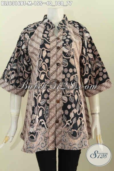 Baju Batik Klasik Lawasan, Busana Batik ELegan Proses Kombinasi Tulis Model Kerah Shanghai Pas Banget UntukKe Kantor [BLS6316BT-M]