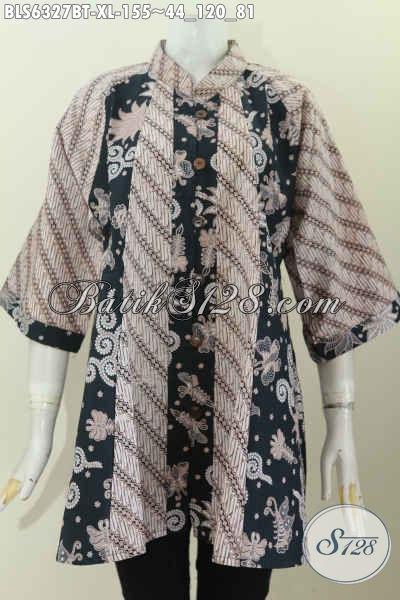 Online Shop Busana Batik Wanita, Sedia Blus Kerah Shanghai Dual Motif Klasik Lawasan Cocok Juga Untuk Kondangan [BLS6327BT-XL]