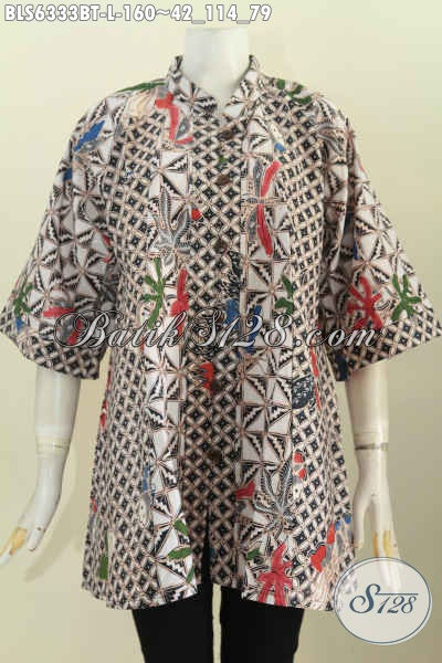 Online Shop Pakaian Batik Paling Lengkap, Jual Blus Kerah Shanghai Istimewa Motif Mewah Bahan Adem Kombinasi Tulis Harga 160K [BLS6333BT-L]