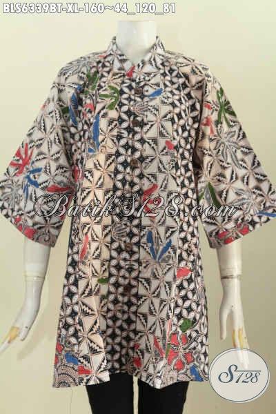 Pakaian Batik Keren Dan Mewah, Busana Batik Modis Halus Kwalitas Bagus Desain Kerah Shanghai Di Jual Online Harga 160K [BLS6339BT-XL]