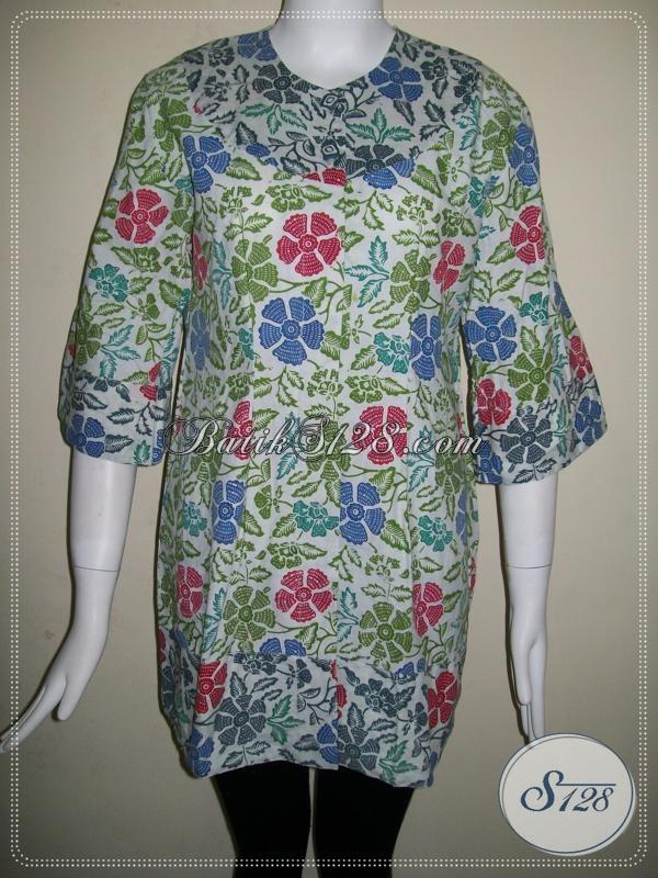 Batik Wanita Warna Hijau Cerah Motif Bunga-Bunga Cantik [BLS634CB]