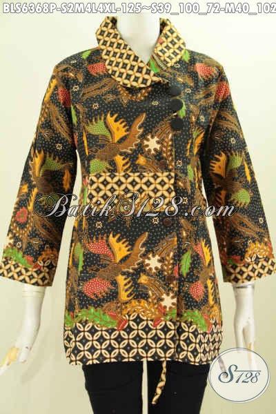 Baju Blus Kerah Miring Berkelas Desain Mewah Motif Bagus Proses Printing Harga 125K [BLS6368P-S , M , L]
