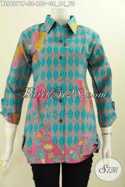 Jual Online Koleksi Terbaru Blus Batik Model Kerah Kemeja Pria, Pakaian Batik Modis Elegan Tampil Gaya [BLS6371P-S]