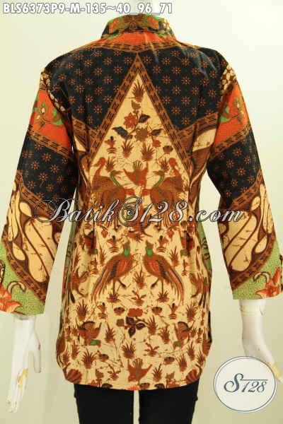 Baju Blus Motif Klasik Model Kerah Kemeja Pria, Busana Batik Solo Halus Proses Printing Hanya 125 Ribu [BLS6373P-M]