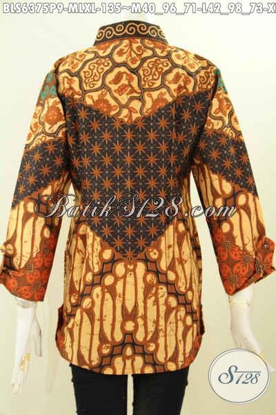 Blus Motif Klasik Proses Printing, Pakaian Batik Solo Elegan Desain Mewah Bahan Adem Untuk Tampil Gaya Dan Mempesona [BLS6375P-XL]