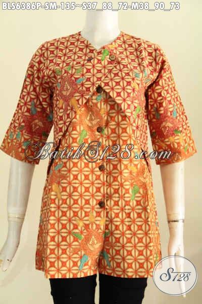 Busana Batik ELegan Motif Klasik Model Kombinasi Rompi Yang Bikin Wanita Karir Tampil Mempesona [BLS6386P-S , M]
