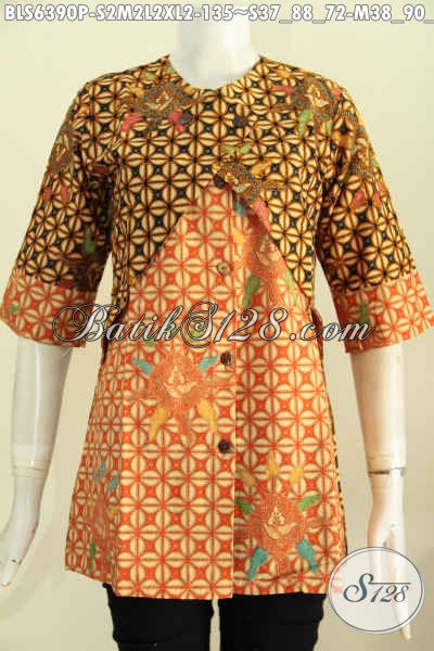 Koleksi Busana Wanita Model Blus Kombinasi Rompi Proses Batik