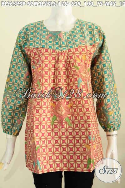 Pakaian Batik Wanita Karir Model Lengan 7/8 Pake Karet Di Ujung, Baju Batik Printing Halus Pas Untuk Ke Kantor Dan Jalan-Jalan [BLS6393P-S , M]