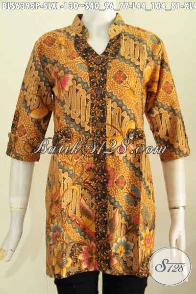 Baju Blus Batik Model Deck Lengan Pendek, Busana Batik ELegan Buatan Solo Motif Mewah Printing Hanya 130K, Size L