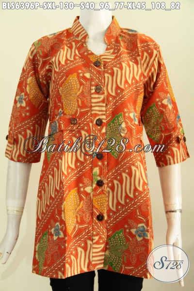Busana Batik Keren Motif Unik Proses Printing, Baju Batik Blus Lenagn Model Deck Kwalitas Istimewa Tampil Mempesona [BLS6396P-S , XL]