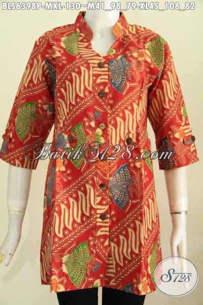 Jual Online Batik Blus Merah Desain Mewah Bahan Adem Motif Mewah Model Deck Lengan Pendek 130K [BLS6398P-M]