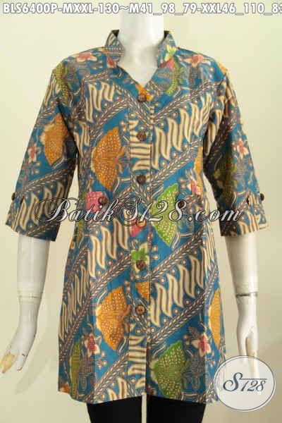Baju Batik Solo Halus Motif Mewah, Pakaian Batik Blus Model Deck Bahan Adem Proses Printing Lengan Pendek Pas Untuk Ke Knator [BLS6400P-M , XXL]