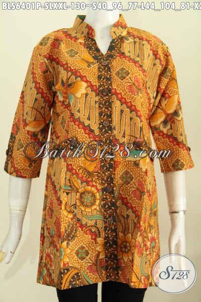 Baju Blus Modern Motif Klasik, Pakaian Batik Printing Solo Kwalitas Istimewa Lengan Pendek Model Deck, Cocok Untuk Acara Resmi, Size S – L