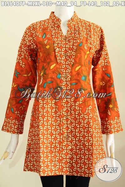 Baju Blus Modern Kerah Shanghai Rempel Depan, Pakaian Batik Kerja Lengan Panjang Cocok Untuk Cewek Berhijan [BLS6407P-M]