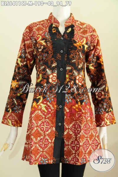 Jual Online Baju Blus Rempel Depan, Busana Batik Halus Lengan Panjang Kerah Shanghai Untuk Penampilan Lebih Istimewa [BLS6411CT-M]