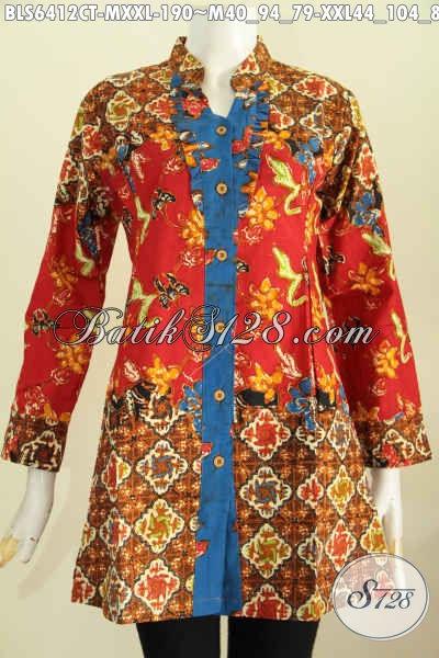 Sedia Baju Blus Model Terkini, Busana Batik Jawa Tengah Lengan Panjang rempel Depan Kerah Shanghai Harga 190 Ribu, Cocok Untuk Kerja Kantoran [BLS6412CT-M]
