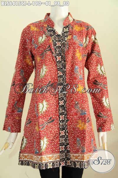 Jual Online Batik Blus Modern, Produk Baju Batik Lengan Panjang Rempel Depan Pakai Kerah Shanghai Bagus Banget Proses Cap Tulis [BLS6415CT-L]