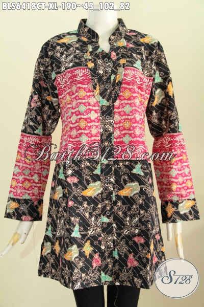 Koleksi Terbaru Baju Batik Solo Istimewa, Pakaian Batik Jawa Tengah Halus Lengan Panjang Rempel Depan Kerah Shanghai Harga 190K [BLS6418CT-XL]