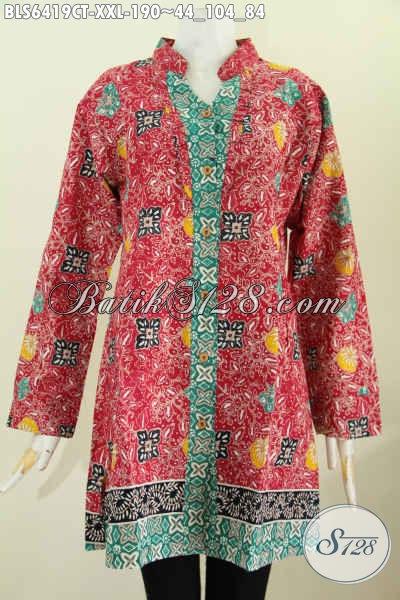 Baju Blus Lengan Panjang Untuk Wanita Gemuk Busana Batik Kerah
