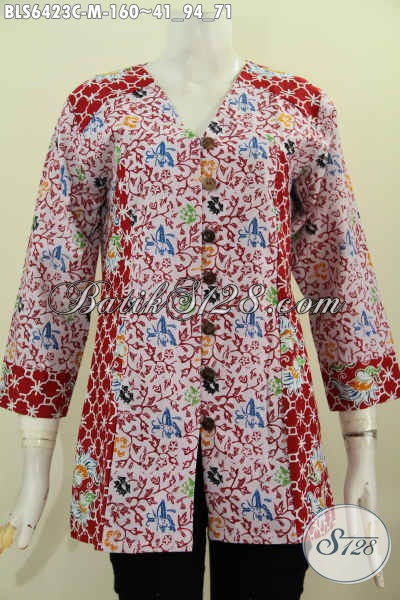 Online Shop Busana Batik Paling Up To Date, Sedia Blus Batik Modis Halus Model Kerah V Kombinasi 2 Motif [BLS6423C-M]