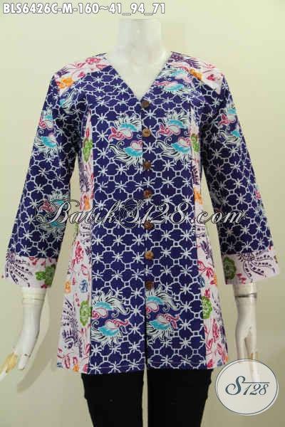 Busana Batik Wanita Karir Baju Batik Halus Model Kerah V Kombinasi