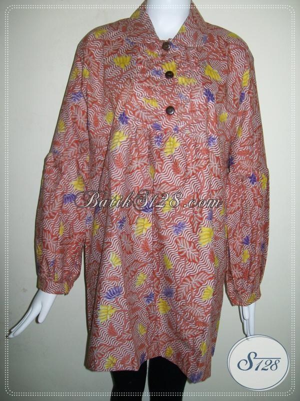 Baju Batik Muslim Wanita Indonesia Modern Terbaru [BLS642P-XL]