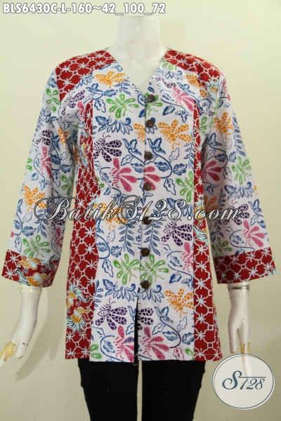 Agen Pakaian Batik Wanita Terlengkap, Jual Online Batik Blus Kerah V Size L Bahan Adem Kombinasi 2 Motif Proses Cap Hanya 100 Ribuan [BLS6430C-L]