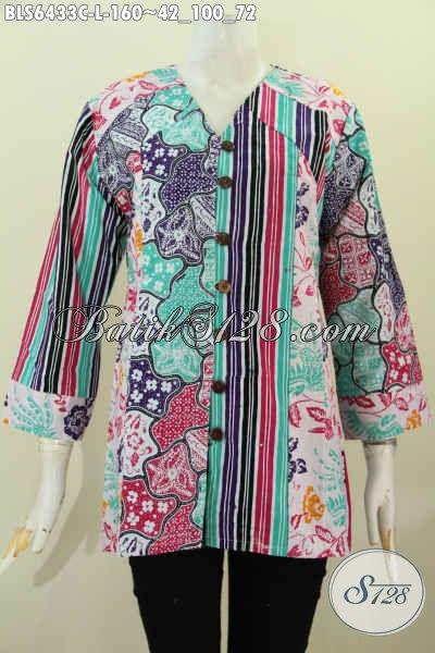 Blus Batik Masa Kini Untuk Kerja Dan Hangout, Pakaian Bati 2 Motif Model Kerah V Asli Dari Solo Jawa Tengah [BLS6433C-L]