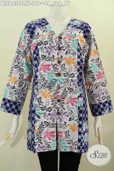 Jual Online Baju Blus Kerah V, Pakaian Batik Jawa Tengah Halus Kombinasi Dua Motif Bahan Adem Proses Cap 160K [BLS6436C-XL]