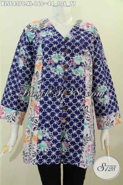Tempat Update Fashion Batik Wanita Karir, Jual Blus Kerah V Bahan Halus Kombinasi 2 Motif Kwalitas Istimewa Hanya 100 Ribuan [BLS6437C-XL]