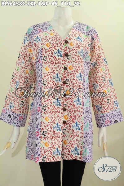 Baju Blus Batik Jumbo XXL, Pakaian Batik Wanita Gemuk Dual Motif Model Kerah V Cocok Untuk Kerja [BLS6438C-XXL]