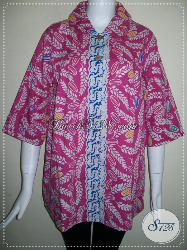 Baju Batik Cewek Modern Keren Terbaru Ukuran XL [BLS646C-XL]