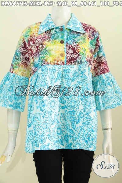 Batik Blus  Model Kerah Lancip Dengan Motif Unik Nan Modern, Pakaian Batik Wanita Masa Kini Proses Cap Smoke Harga 125K [BLS6477CS-XL]